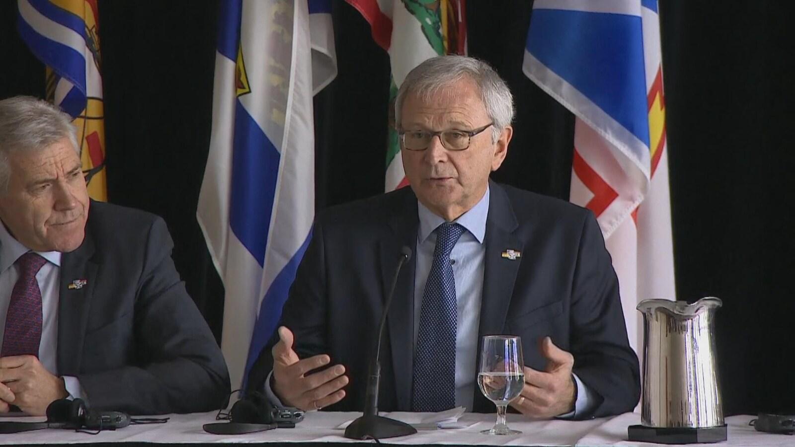 Blaine Higgs, premier ministre du Nouveau-Brunswick, en point de presse.