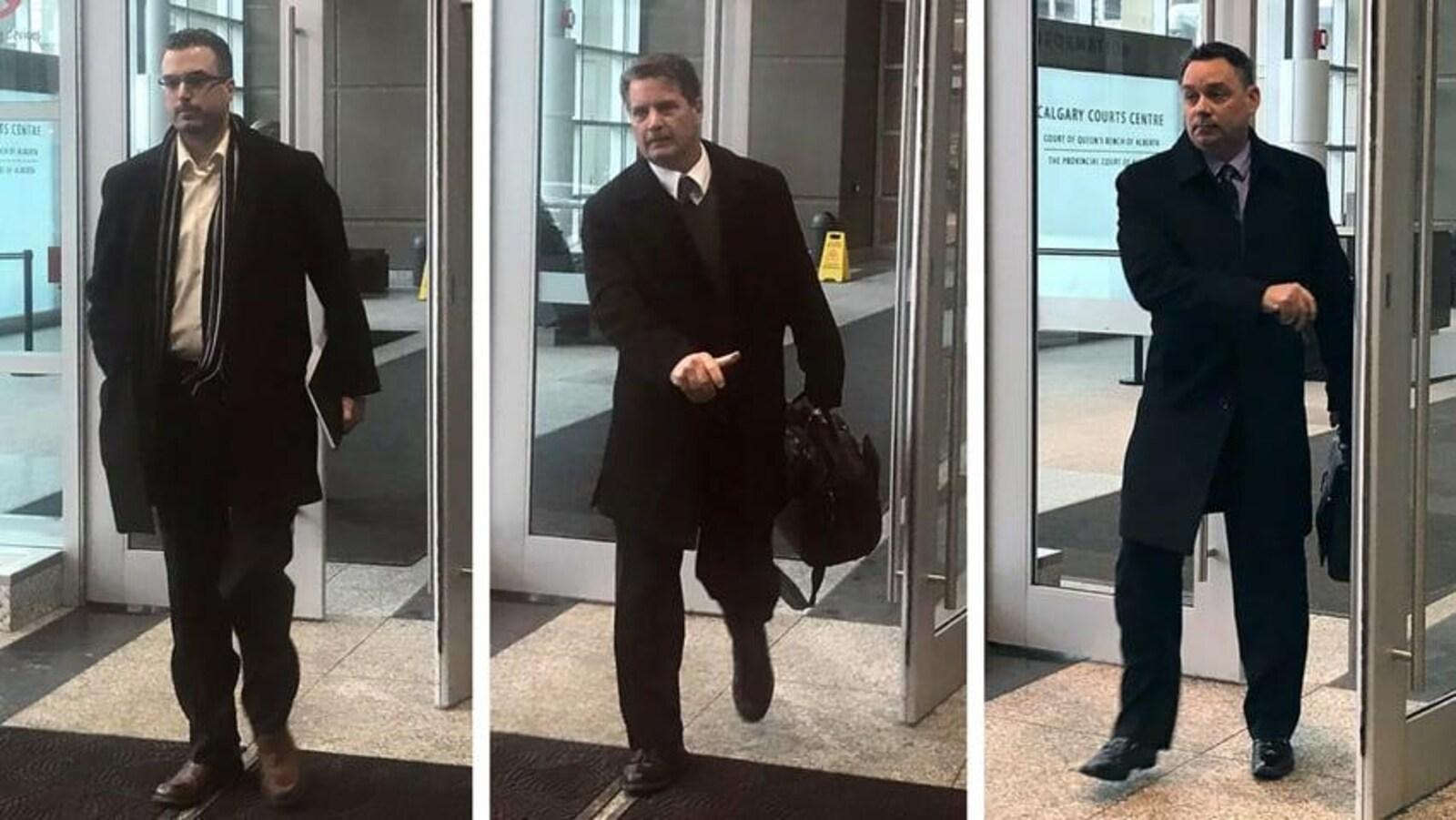 Un photo montage de trois photos collées les unes aux autres de chaque accusé entrant au palais de justice.