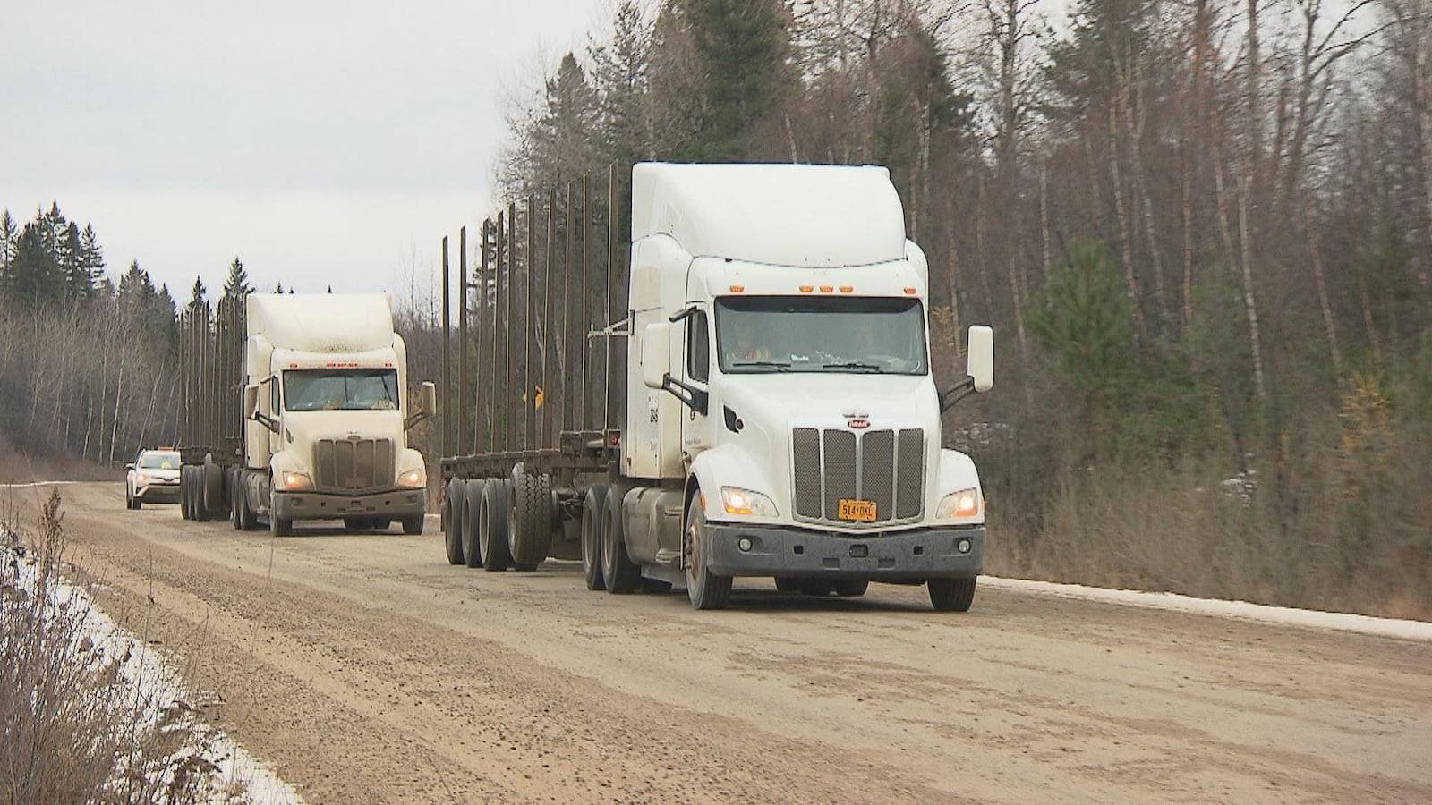 Deux camions se suivent sur un chemin forestier