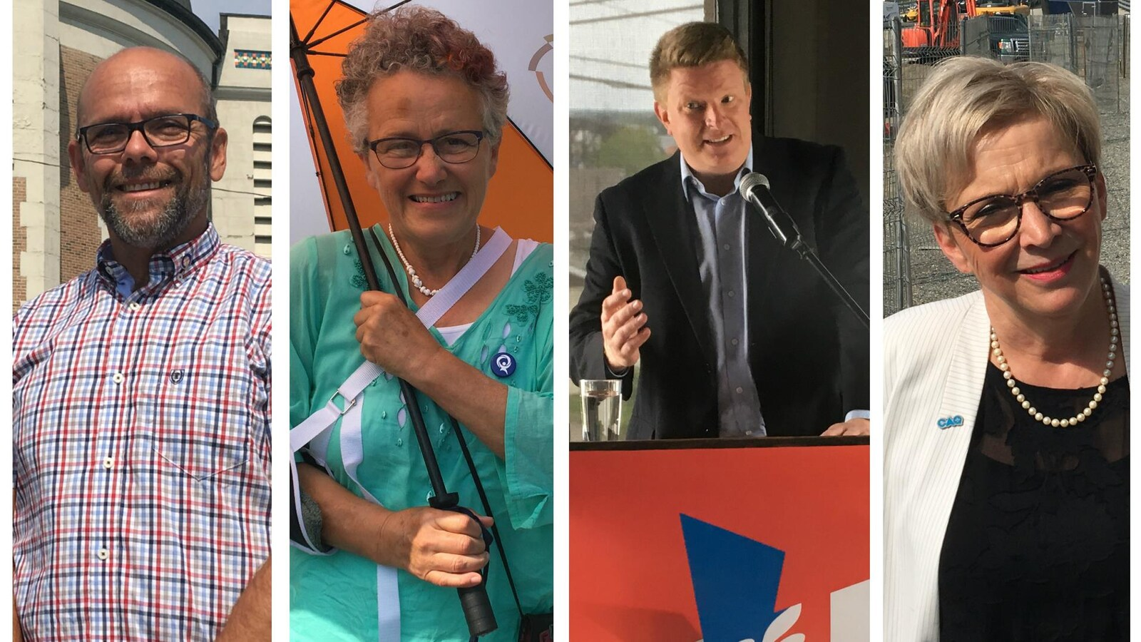 Les quatre candidats dans Abitibi-Ouest sourient à la caméra.