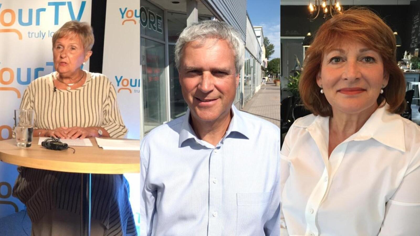 Un photo montage montre les trois candidats.