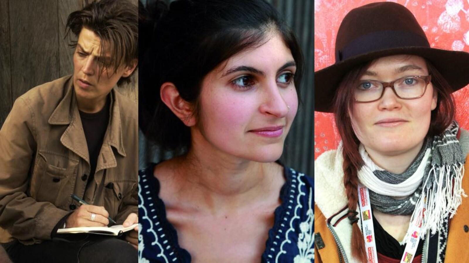 Les trois photos des trois femmes sont côte à côte.