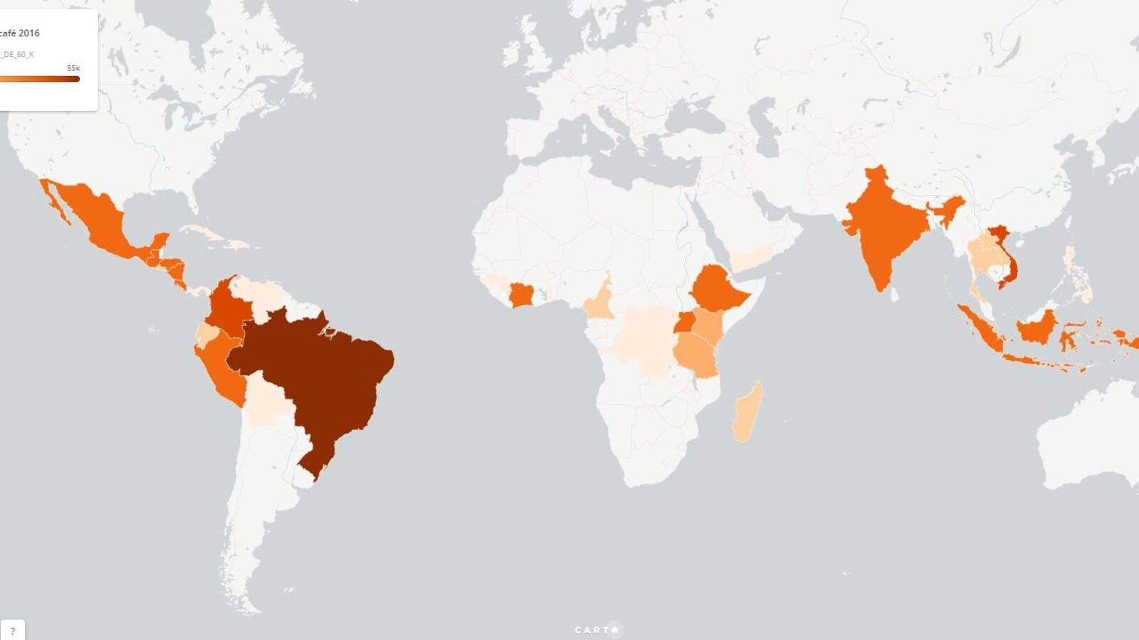 Carte des pays producteurs de café
