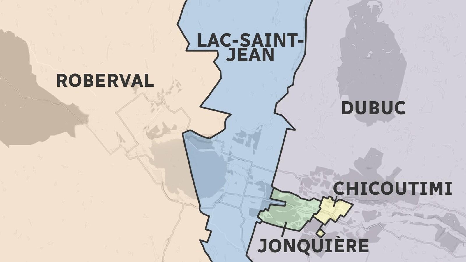 Une carte montrant les circonscriptions provinciales au Saguenay-Lac-Saint-Jean