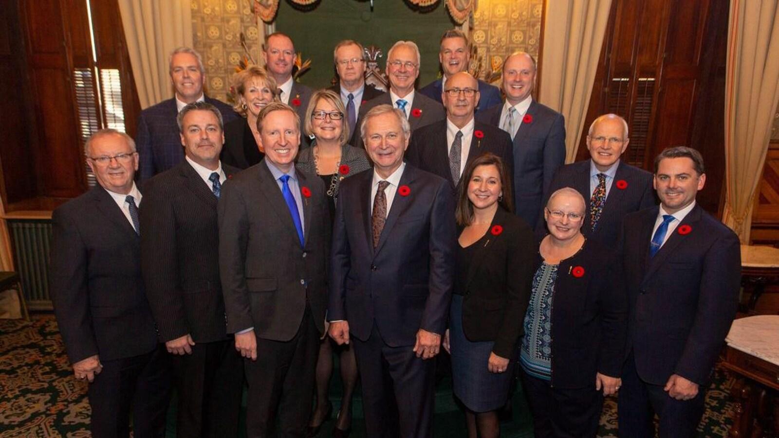 Le conseil des ministres du gouvernement de Blaine Higgs.