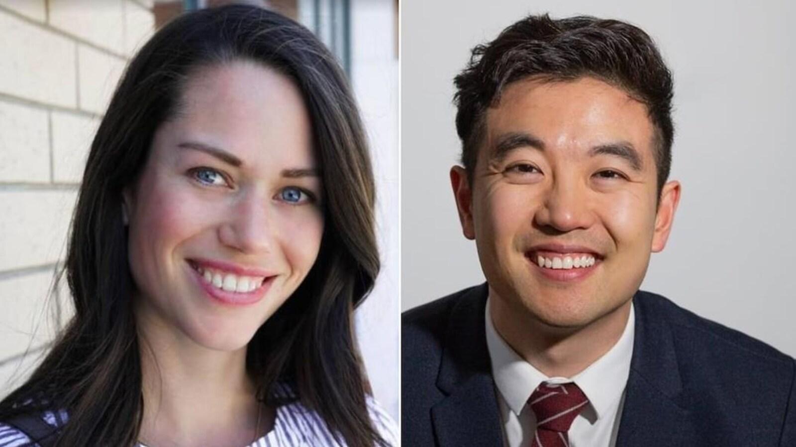 Un montage photo. À gauche, le portrait d'une femme blanche, brune avec des yeux bleus. À droite, le portrait d'un homme d'origine asiatique avec des cheveux et des yeux noirs. Les deux personnes sourient.