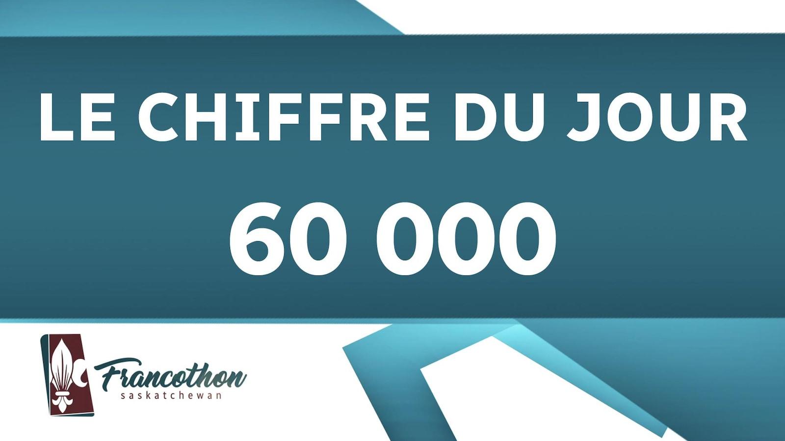 Le chiffre du jour : 60 000, avec le logo du Francothon Saskatchewan