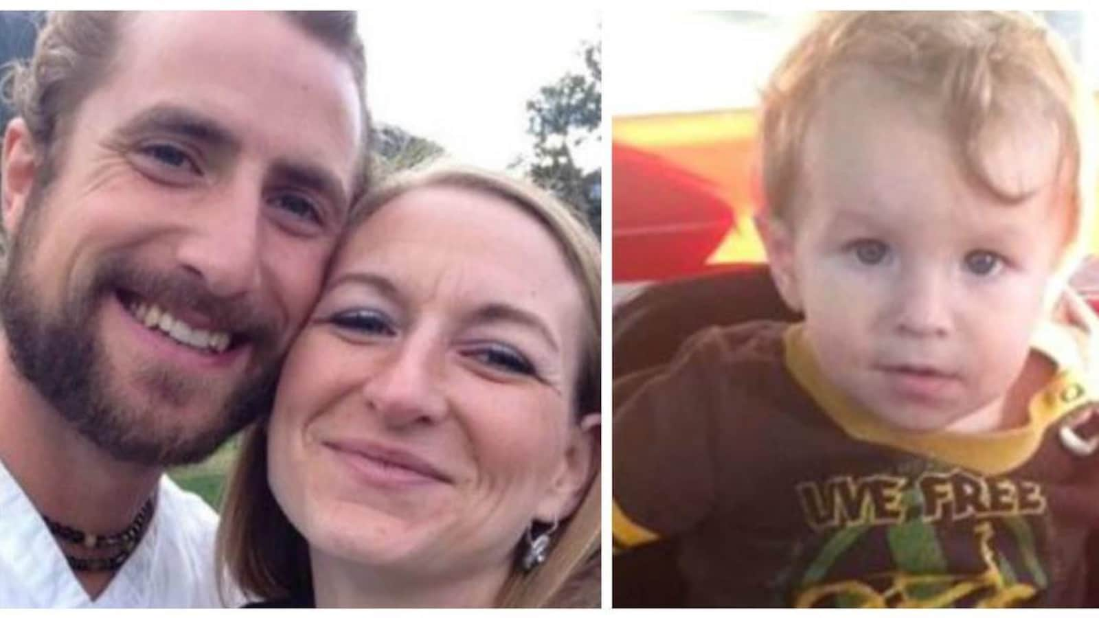 Un collage de deux photos. À gauche, une photo des parents souriants. À droite, une photo du garçonnet blond.