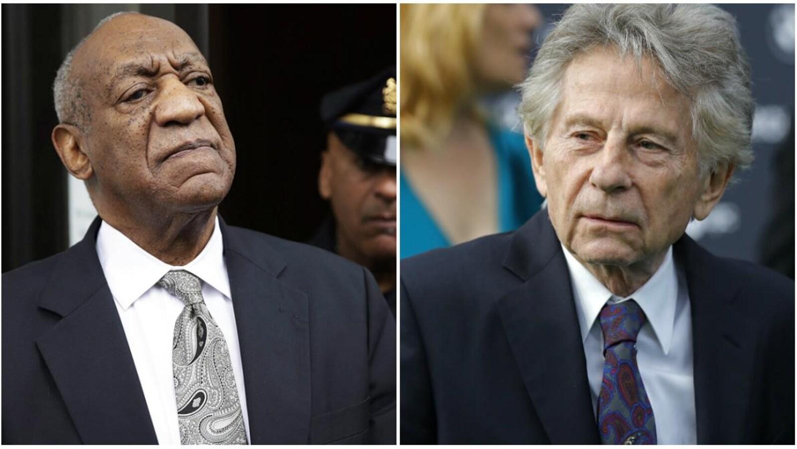 L'acteur Bill Cosby et le réalisateur Roman Polanski ont été croqué par des photographes de presse en sortant d'un événement, à des dates différentes.