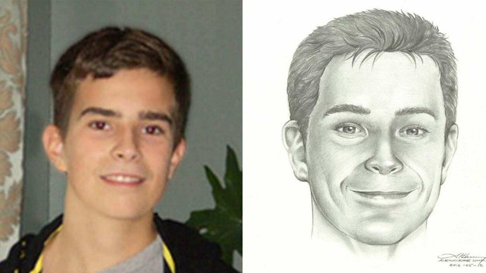 David Fortin au  moment de sa disparition et un portrait-robot de lui avec les traits plus vieux.