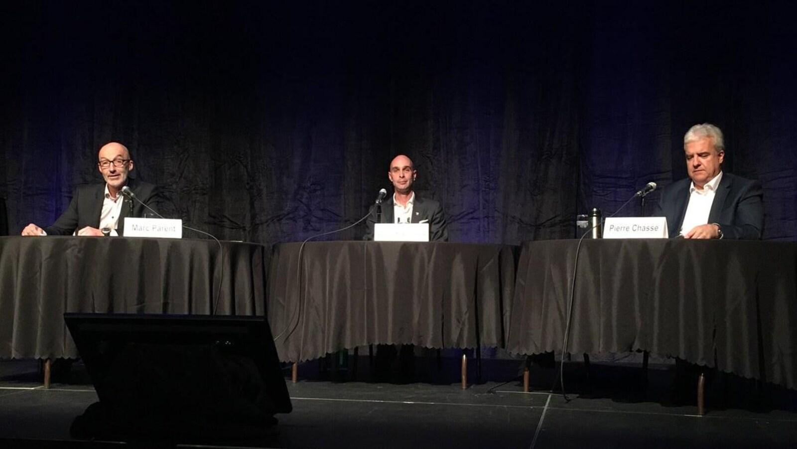 Trois candidats sur quatre ont participé au débat de la Chambre de commerce, soit Marc Parent, Djanick Michaud et Pierre Chassé.