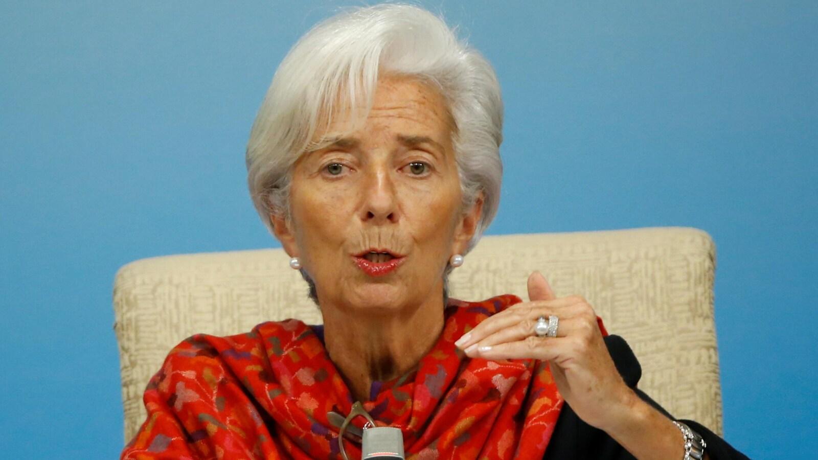 La directrice générale du Fonds monétaire international (FMI), Christine Lagarde, lors d'une conférence de presse à Pékin.