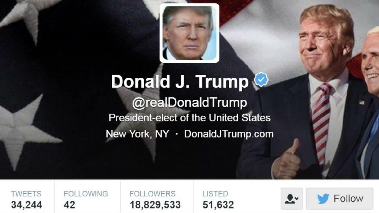 Capture d'écran de l'en-tête du compte Twitter du président des États-Unis Donald Trump, le matin du 6 janvier 2017 © Twitter