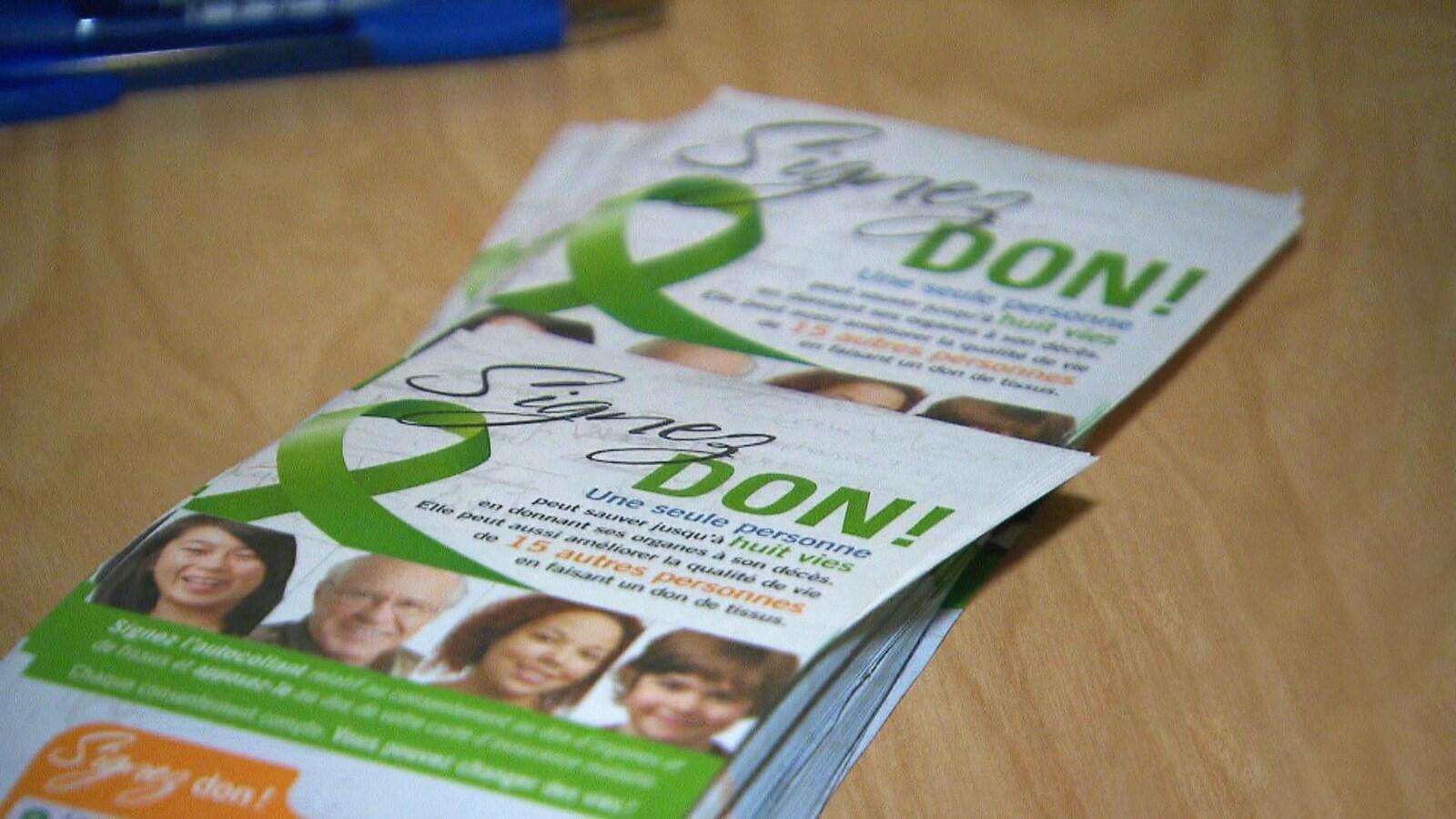 Des pamphlets sur le don d'organes