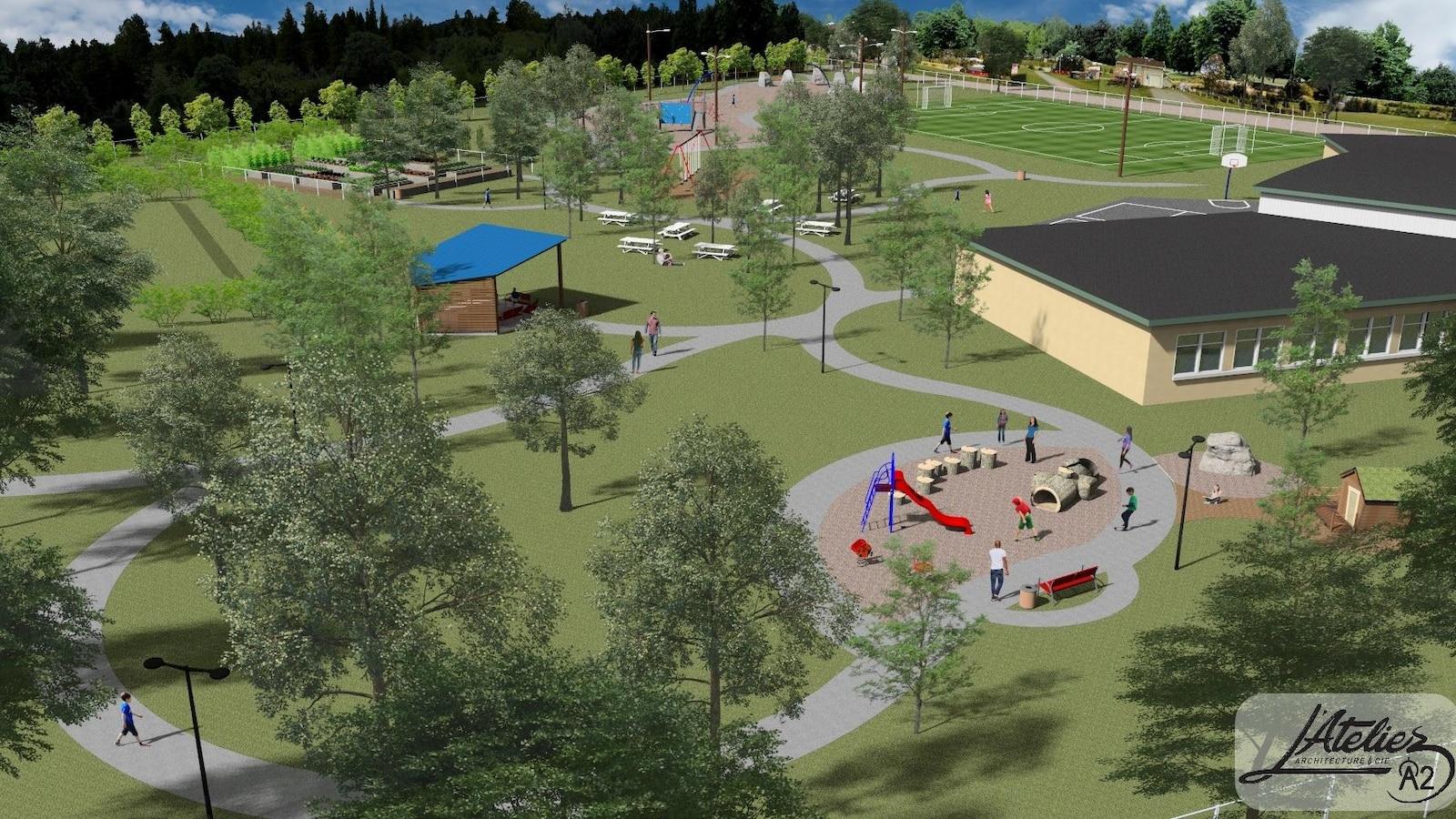 Le projet d'aménagement de la cour extérieure de l'école de Sainte-Lucie-de-Beauregard.