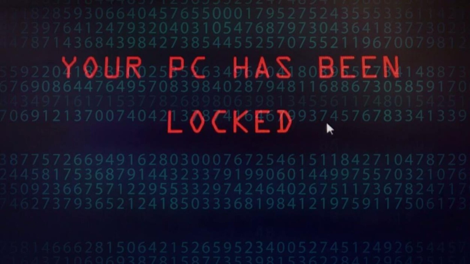 La phrase « Your PC has been locked » apparaît sur un écran d'ordinateur.