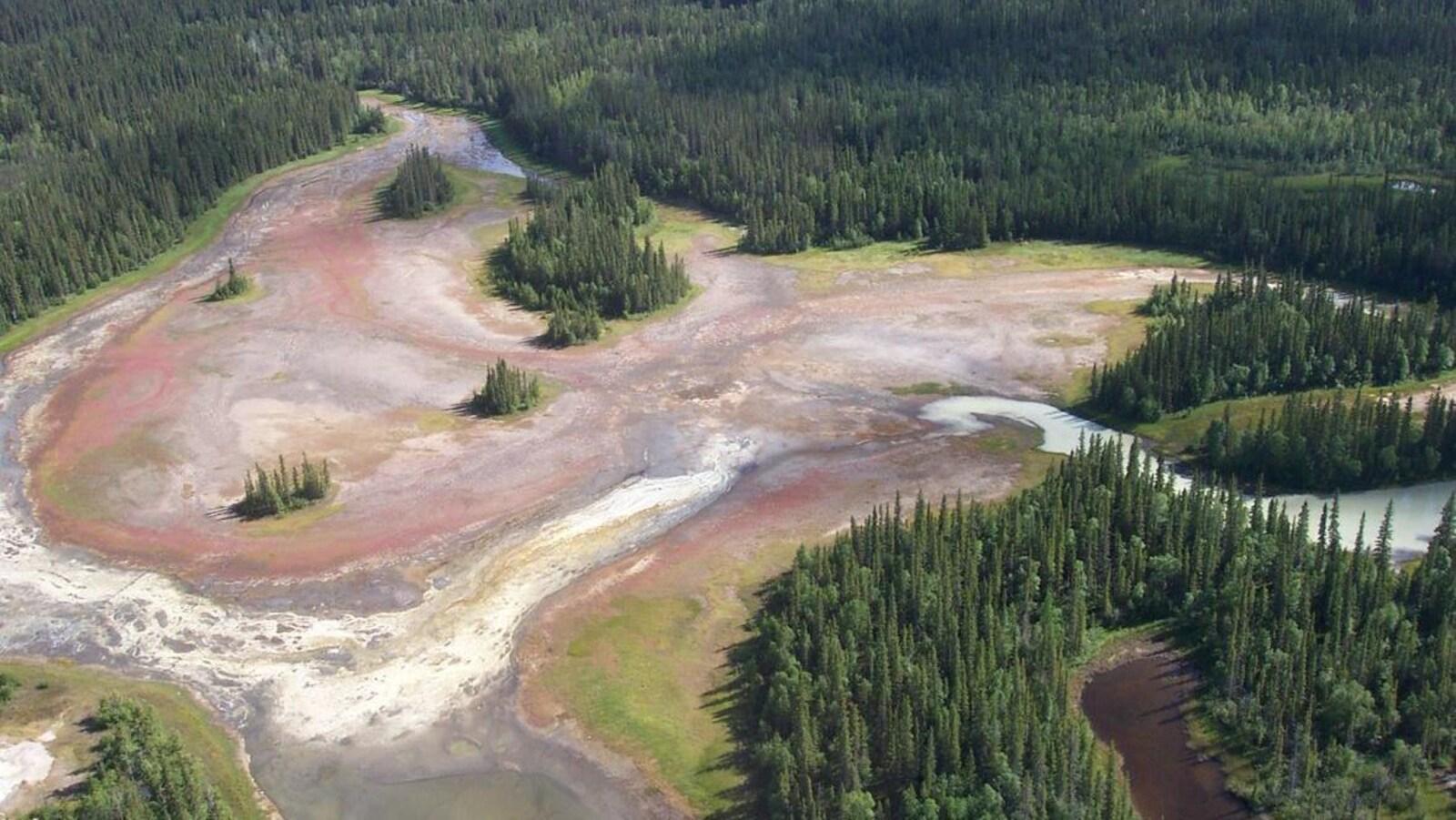 Une vue aérienne d'un écosystème composé de fondrières de mousse.