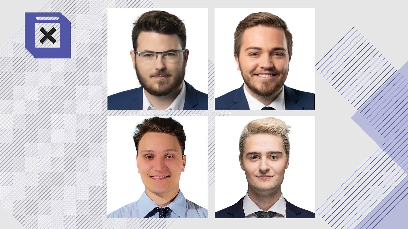 Les quatre candidats de moins de 25 ans au Saguenay-Lac-Saint-Jean.