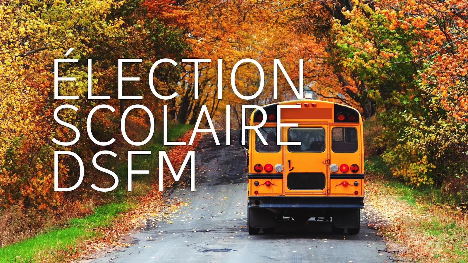 Un autobus scolaire dans un paysage d'automne.