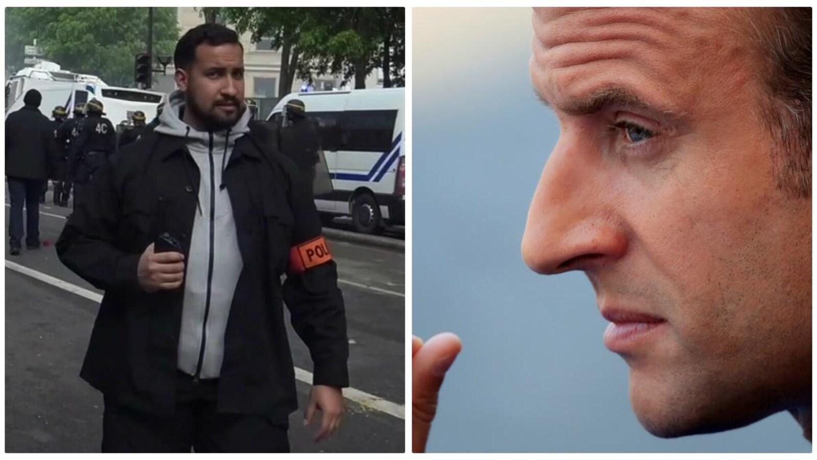 Alexandre Benalla et Emmanuel Macron.