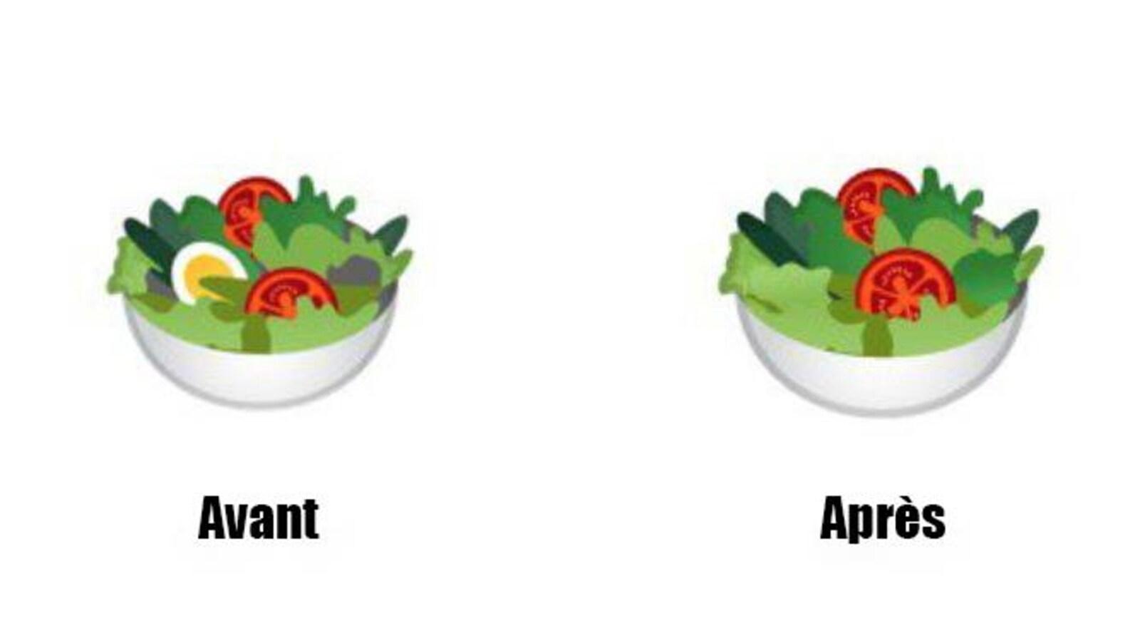Une illustration montrant une deux salades côte à côte. La première porte la mention « avant » et un oeuf est placé dans la salade. La deuxième n'a plus d'oeuf et porte la mention « après ».