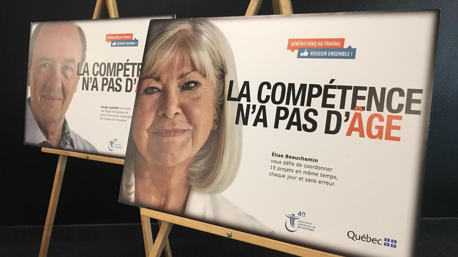 Deux affiches pour l'événement avec les exemples de travailleurs expérimentés.