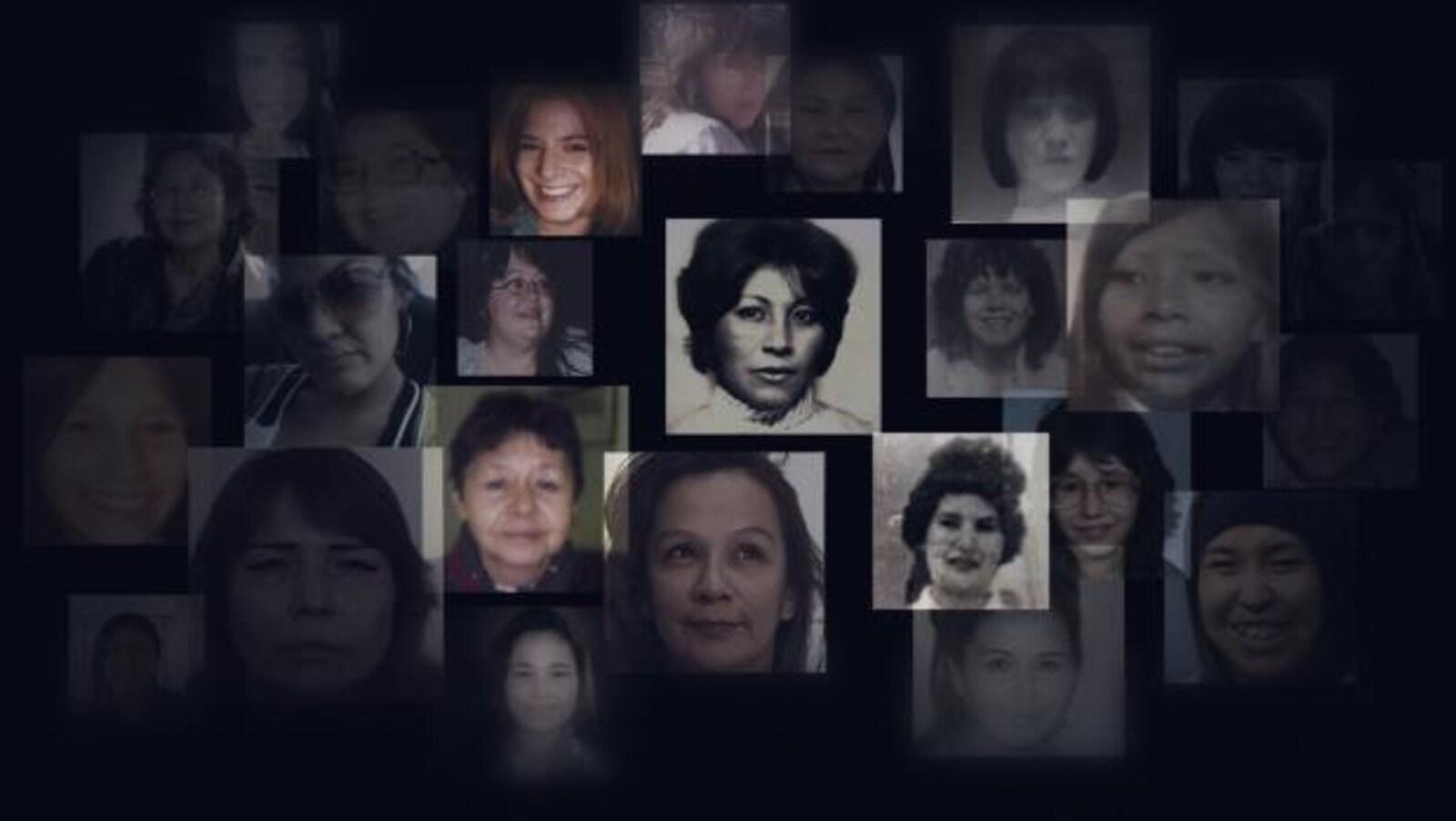 Montage de plusieurs photos de femmes et filles autochtones disparues ou assassinées