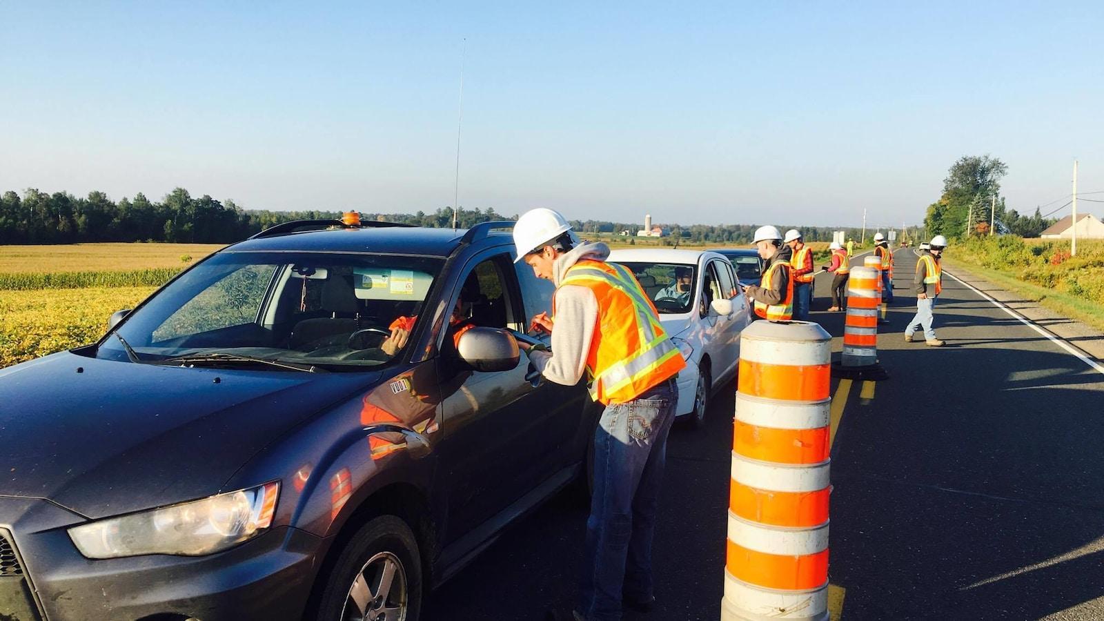 Des employés du ministère des Transports procèdent à l'enquête Origine-destination dans Lotbinière.
