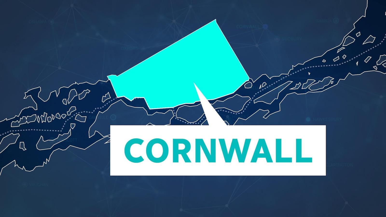 La ville de Cornwall indiquée sur une infographie.