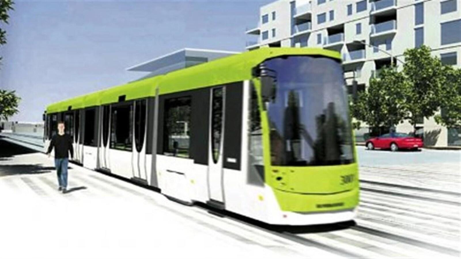 Esquisse du défunt projet de tramway entre Québec et Lévis