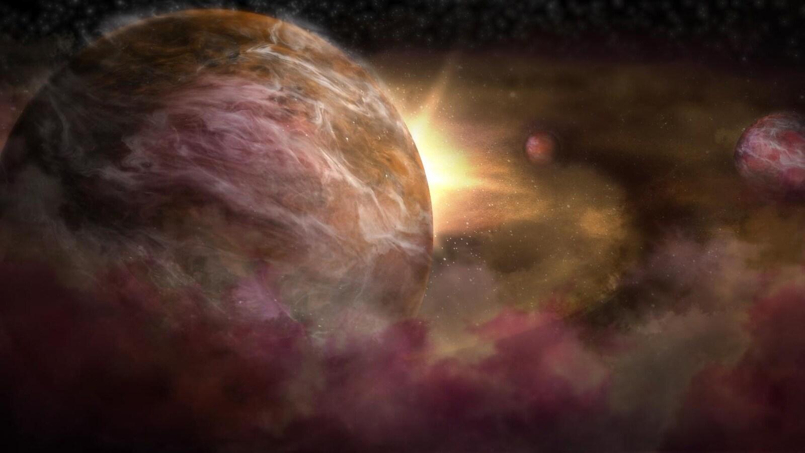 Représentation artistique de protoplanètes en formation autour d'une jeune étoile.