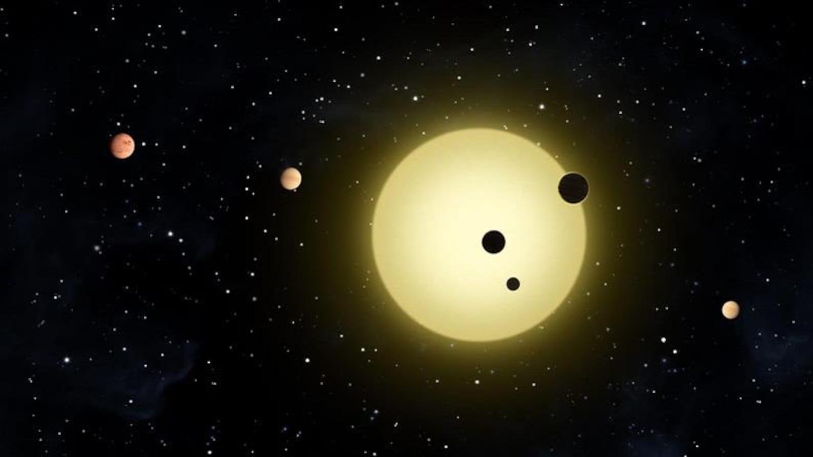 Illustration de Kepler-11, une étoile un peu plus grosse que le Soleil autour de laquelle six planètes sont en orbite.