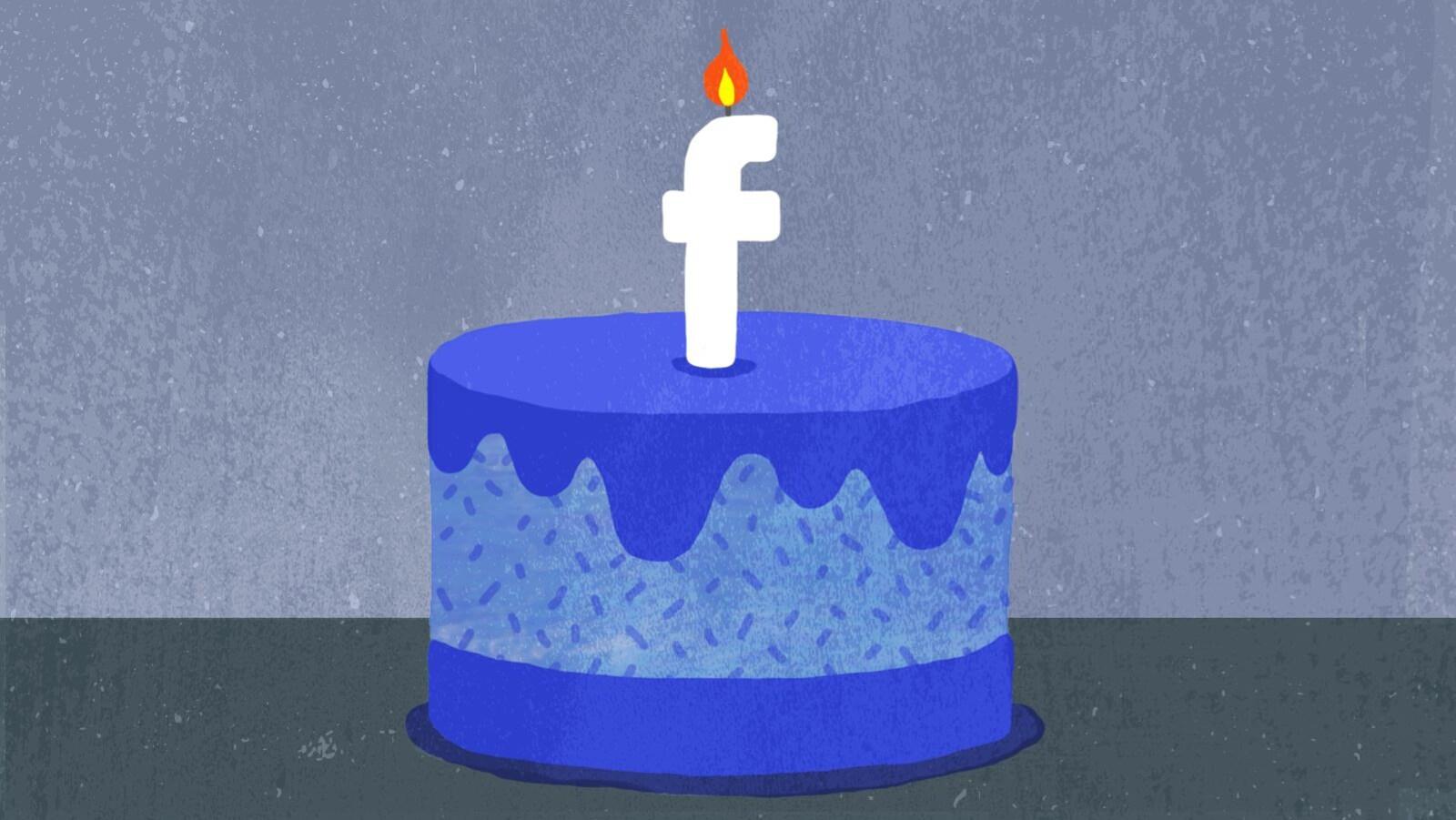 Un gâteau d'anniversaire surmonté d'une chandelle en forme du logo du réseau social Facebook.
