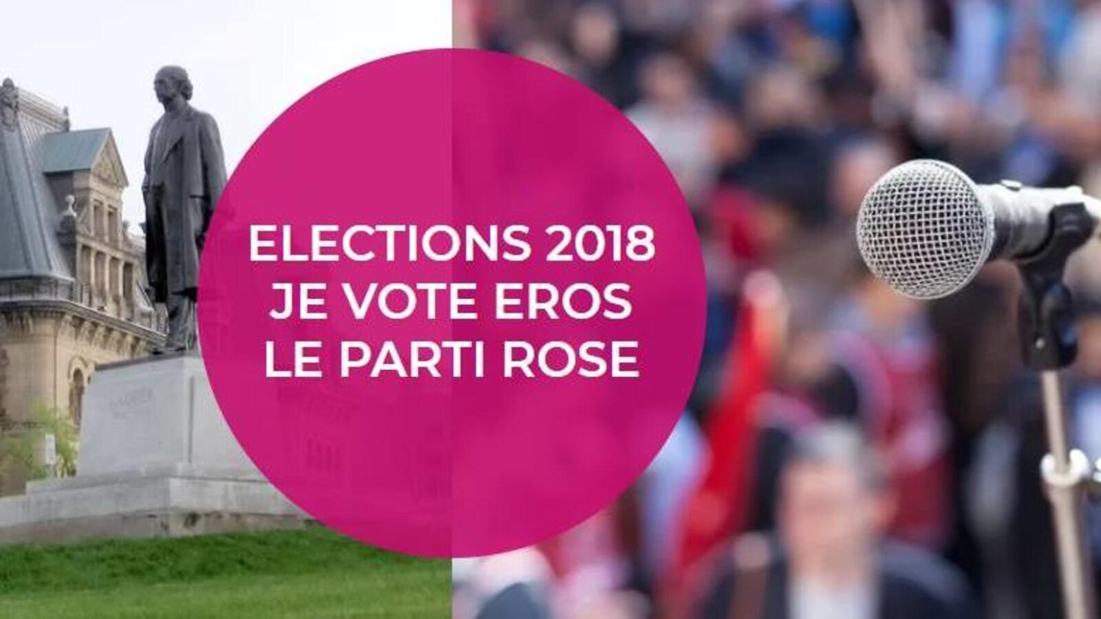 Image de Facebook du parti sur laquelle on peut lire : « Élection 2018 Je vote Eros le parti rose ».