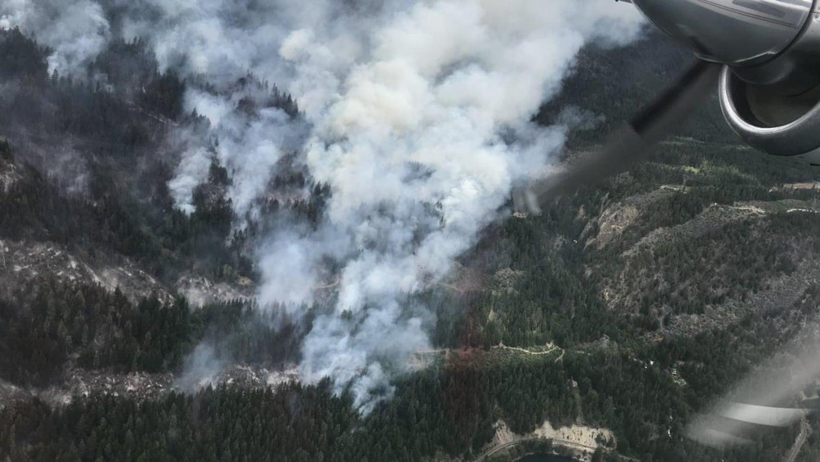 Vue de haut d'un feu de forêt et de fumée.