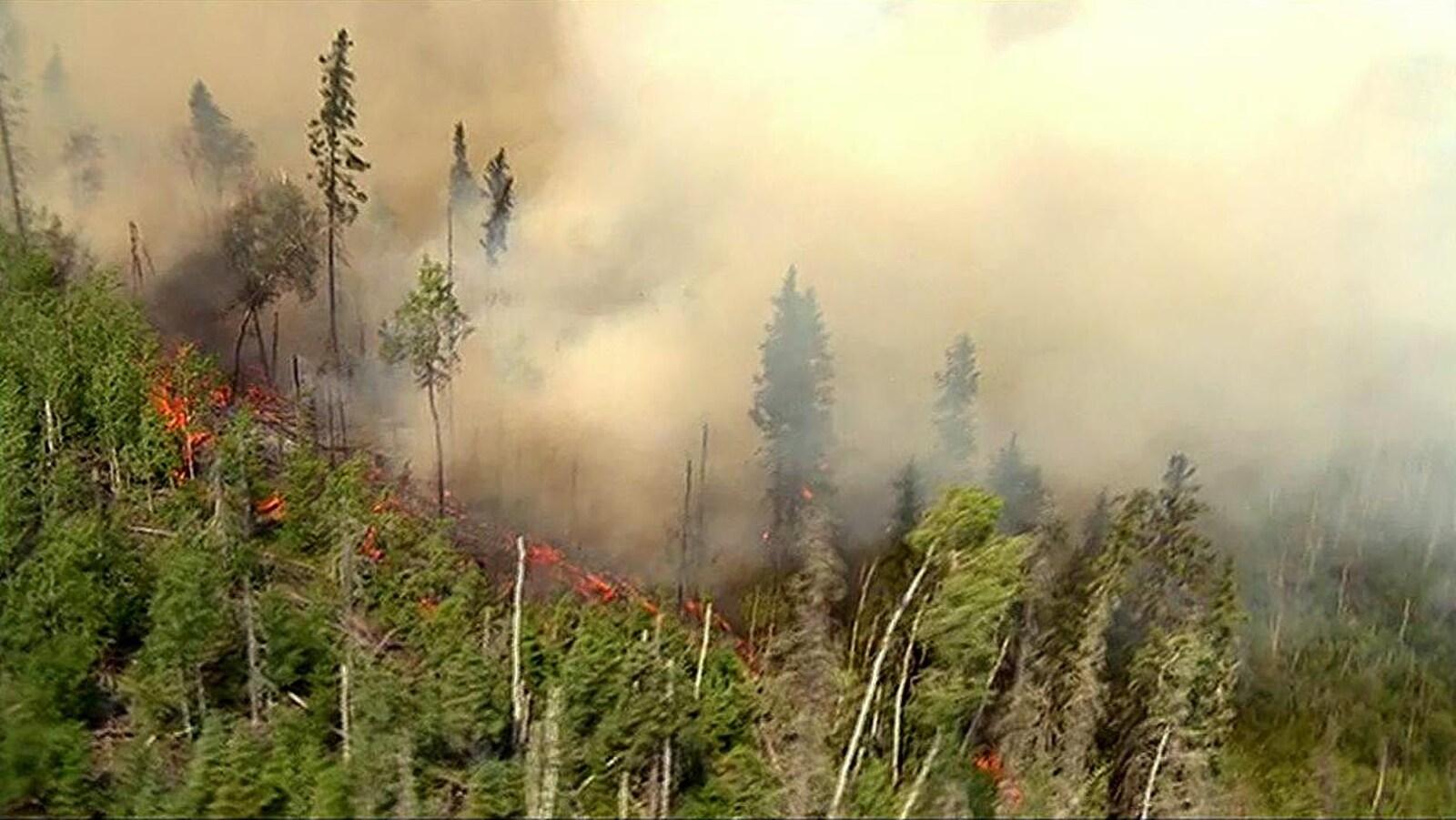Un feu de forêt en Saskatchewan.