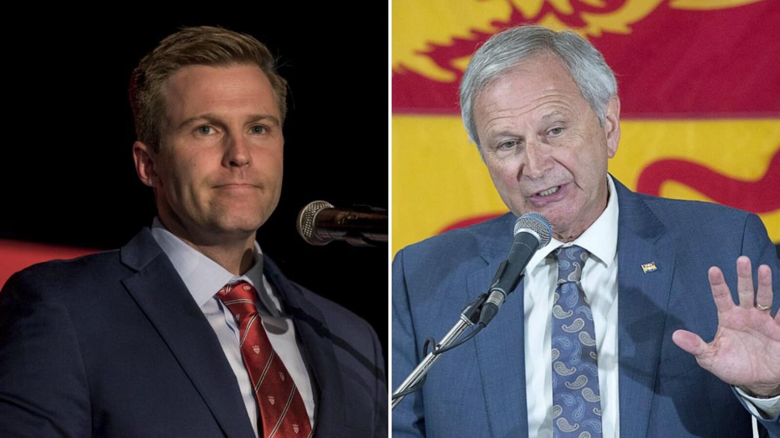 Les deux chefs font une déclaration devant leurs partisans en réaction à l'élection au Nouveau-Brunswick