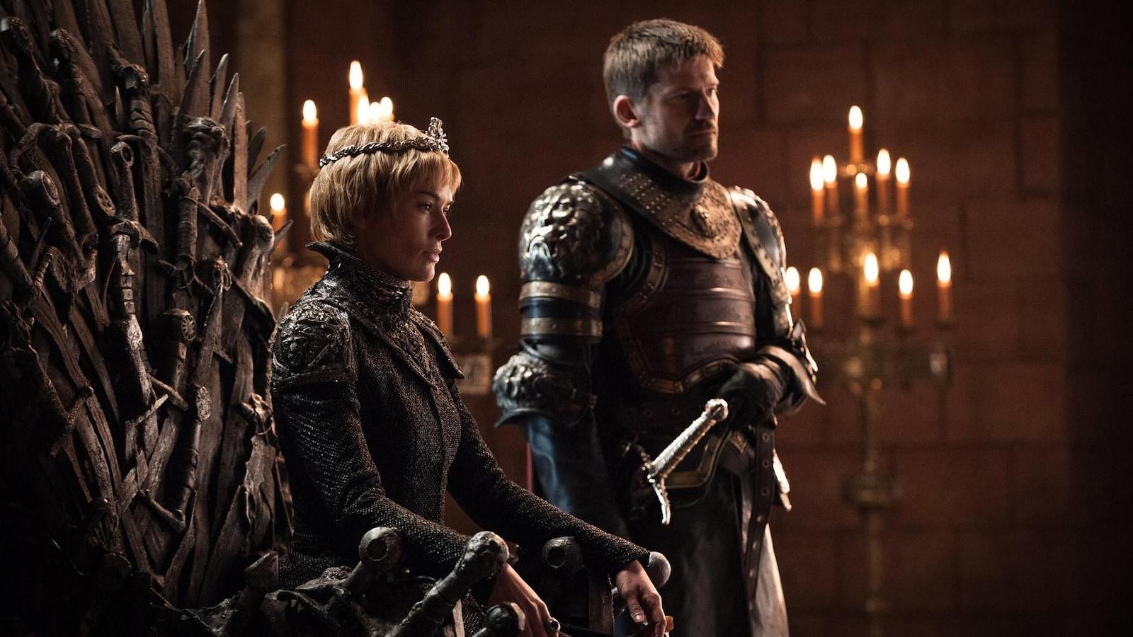 Cersei Lannister sur le trône de fer, dans une scène de la saison 7 de «Game of Thrones».