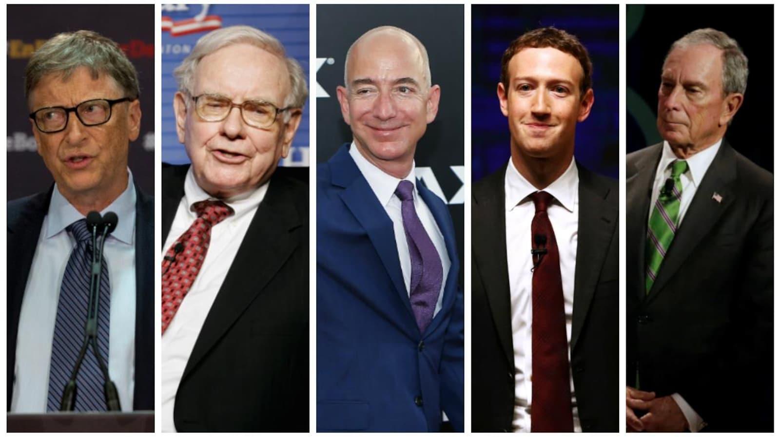 Bill Gates, Warren Buffet, Jeff Bezos, Mark Zuckerberg et Michael Bloomberg