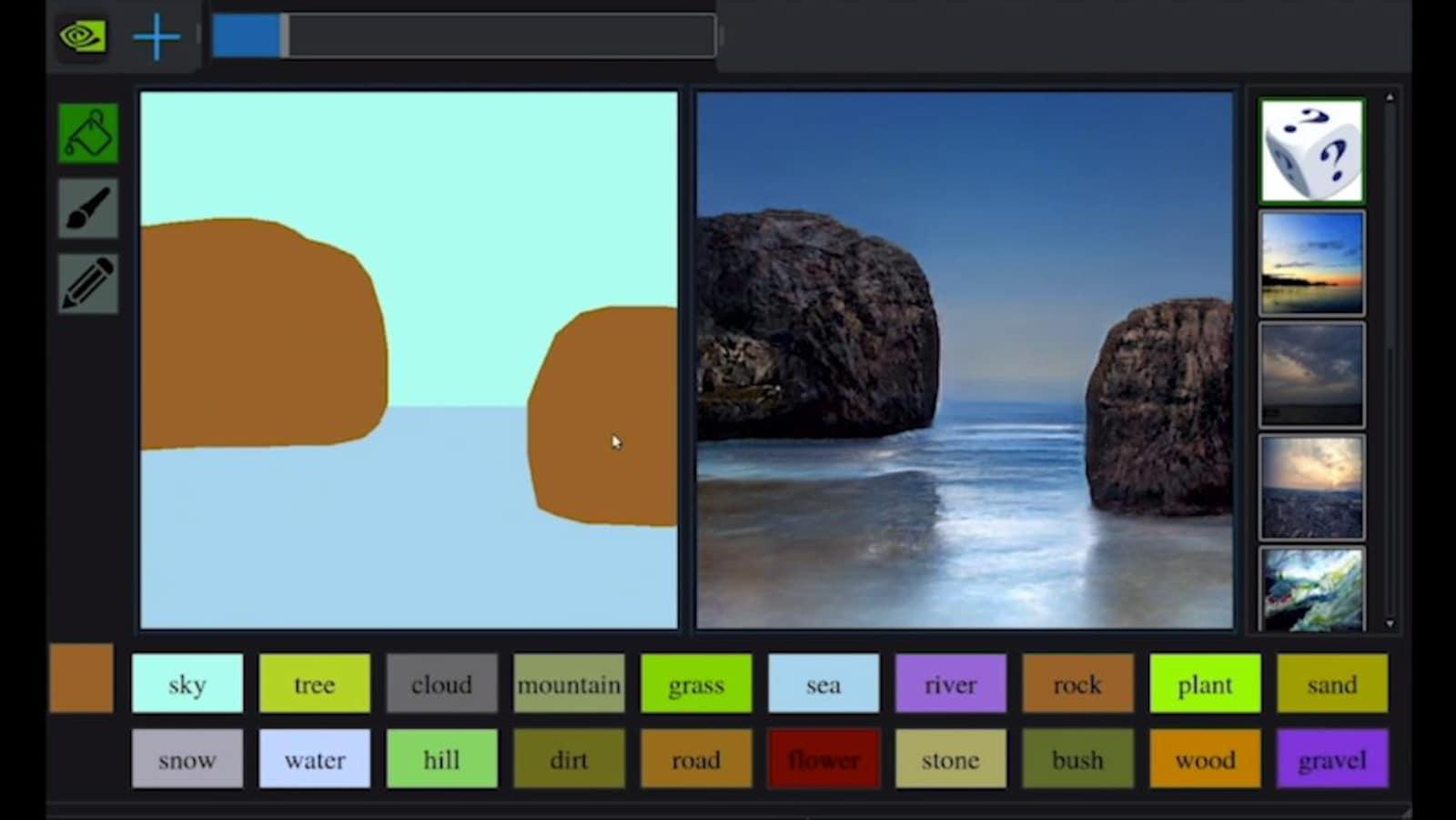 Une capture d'écran du logiciel conçu par Nvidia dans lequel un croquis simpliste est affiché à gauche et un décor réaliste de deux rochers dans la mer est affiché à droite.