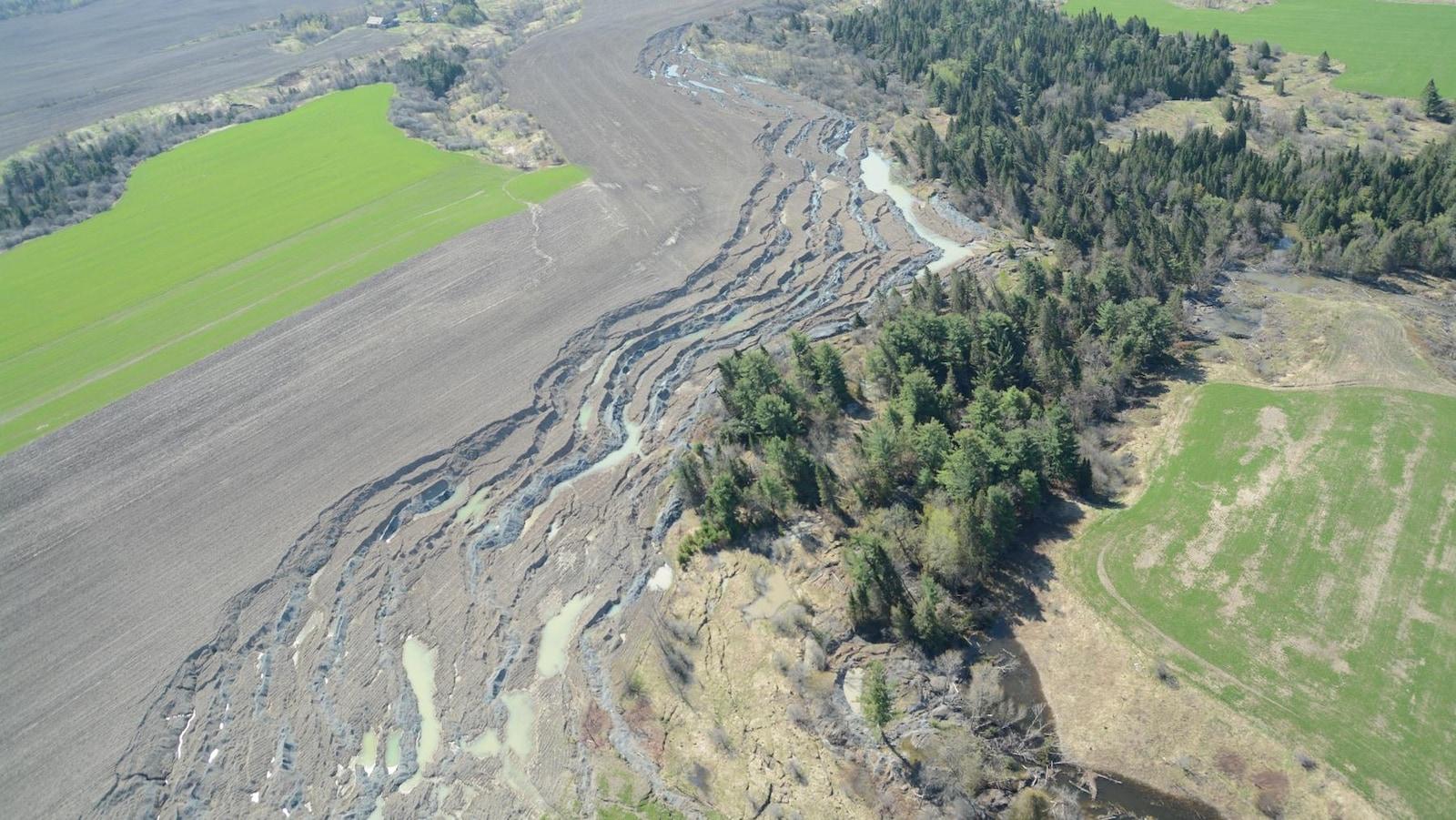 Vue aérienne montrant l'ampleur du glissement de terrain. On voit bien le motif en zébrures, propre aux étalements.