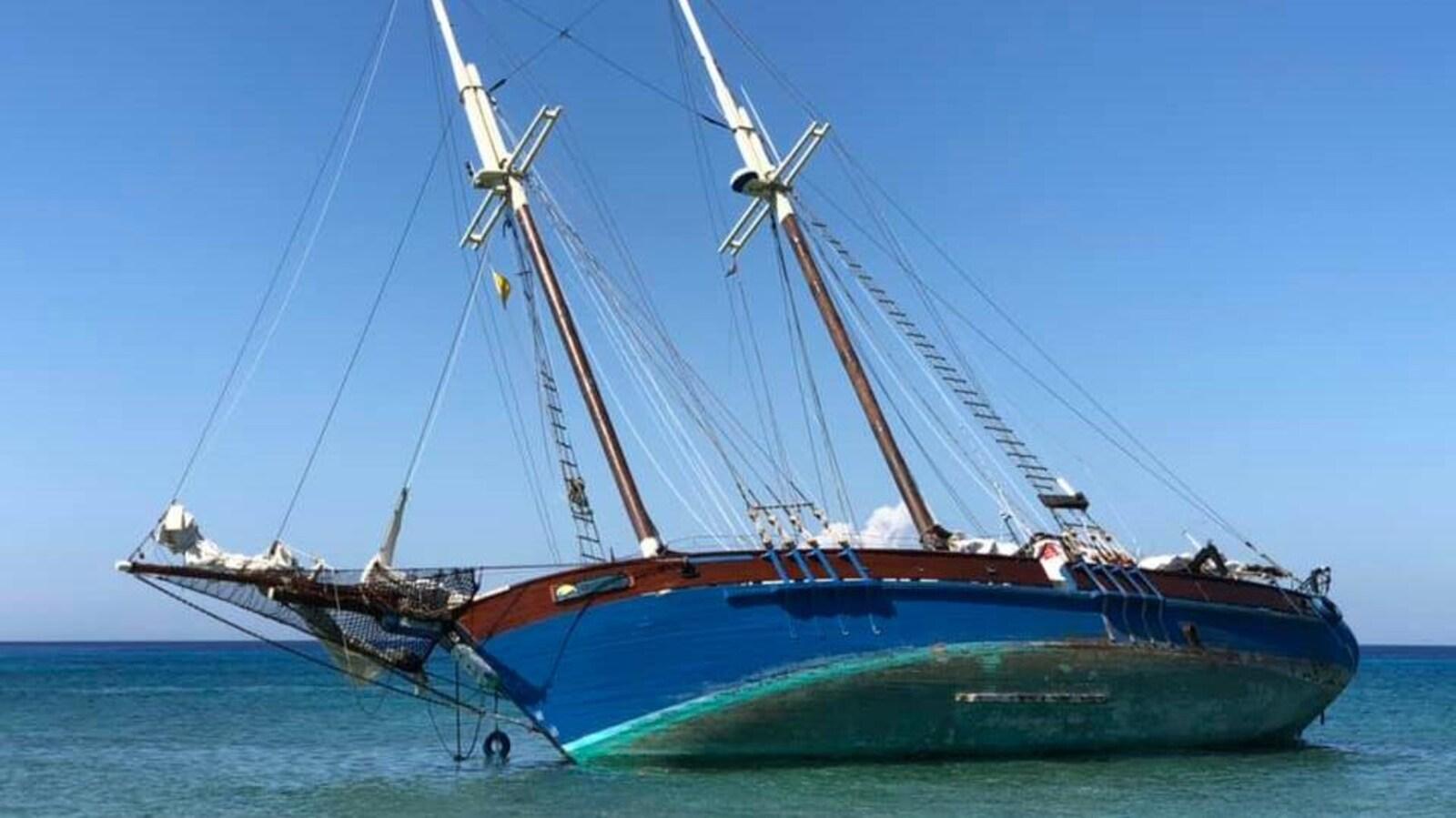La goélette Grosse-île s'est échouée à Cuba le 27 janvier dernier.