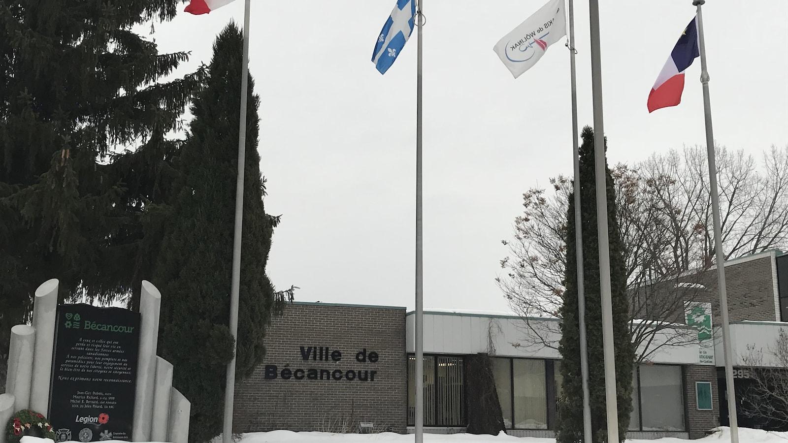 Façade de l'hôtel de ville de Bécancour en hiver