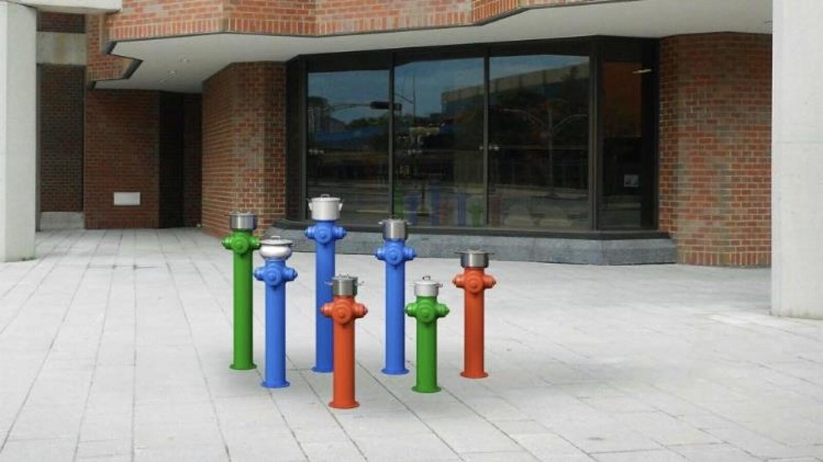 Sept bornes-fontaine de couleur différentes