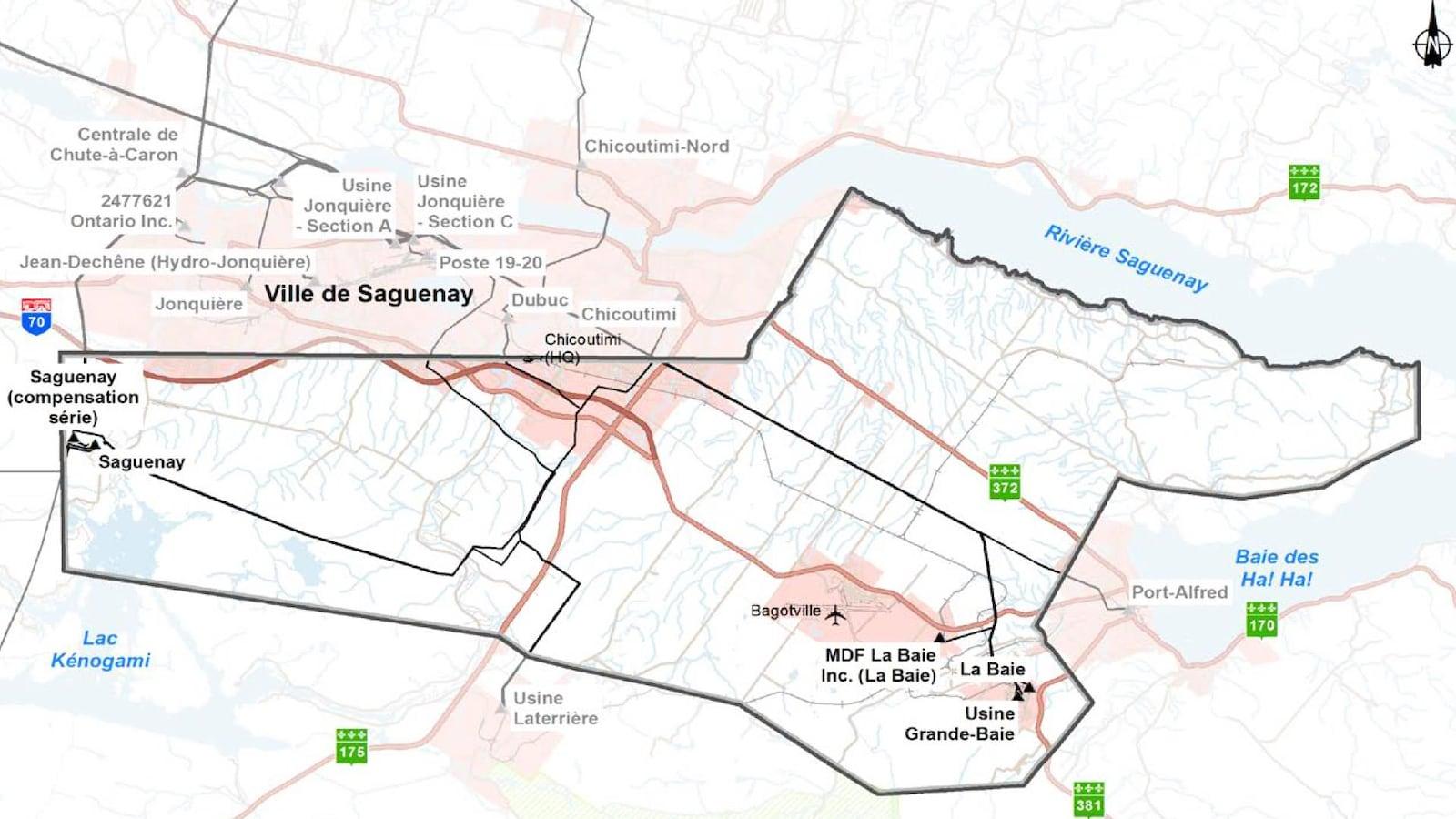 Une carte illustrant les nouveaux tracés proposés par Hydro-Québec.