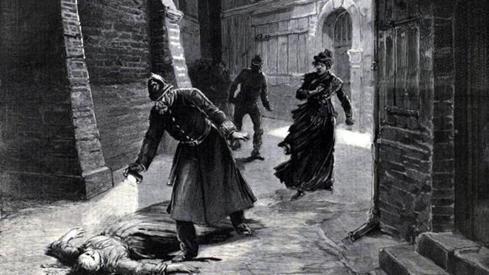 Illustration publiée à l'époque de la police découvrant le corps de l'une des victimes de Jack l'Éventreur.