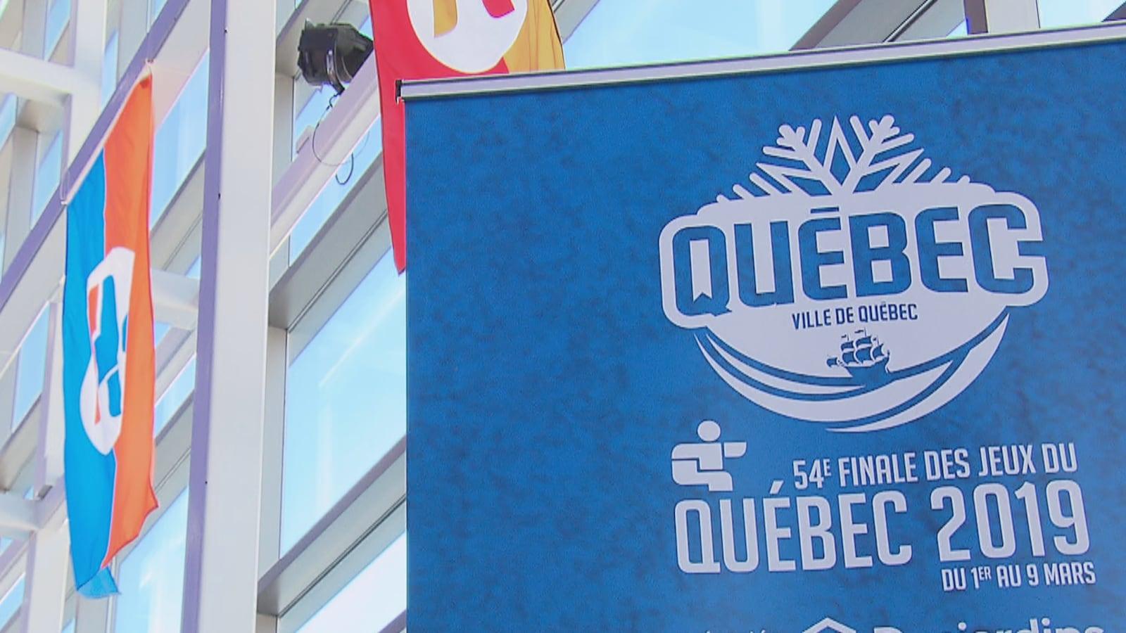 Une banderole de la 54e finale des Jeux du Québec à Québec en mars 2019