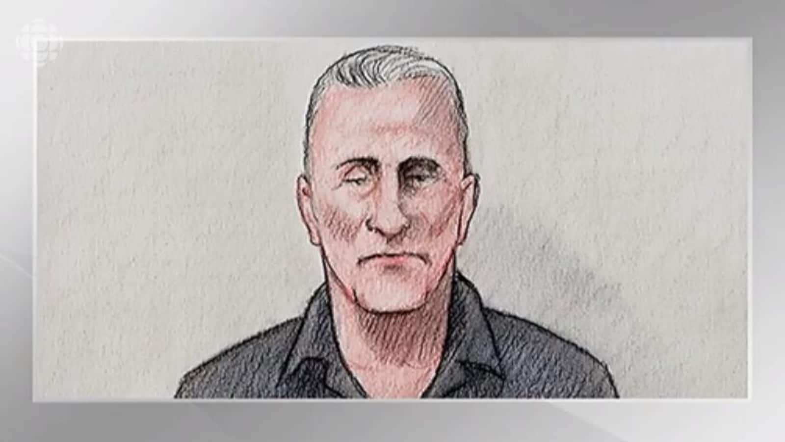 Un dessin d'artiste du tribunal.