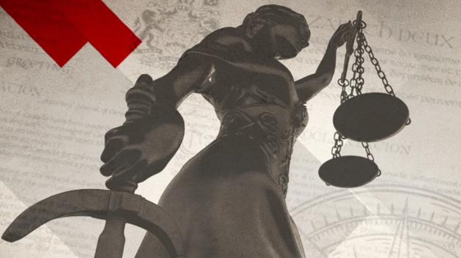 Statue de la personnification de la justice, les yeux bandés et tenant une balance.