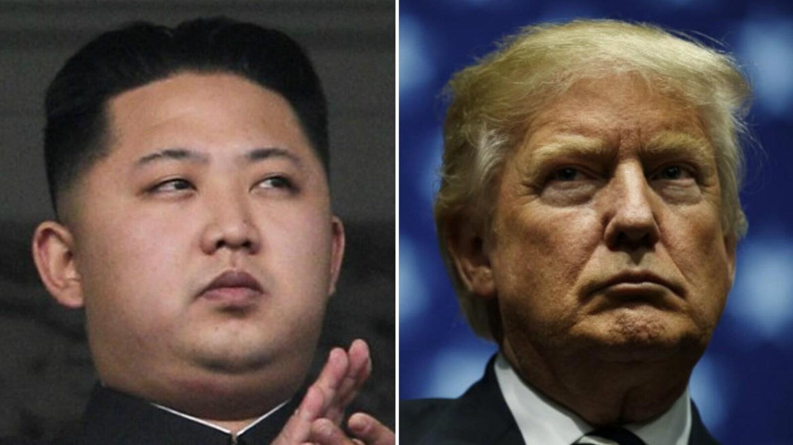 Le chef suprême de la Corée du Nord, Kim Jong-un (gauche) et le président américain, Donald Trump (droite).